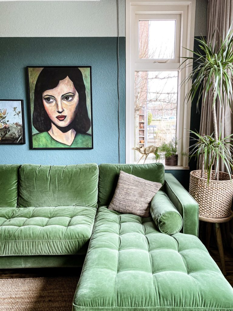 corner green couch