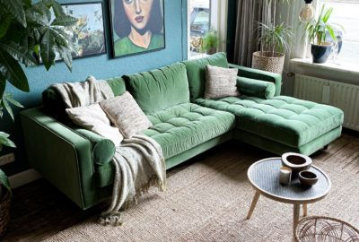green couch in livingroom